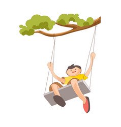 Boy on swing that tied to tree branch vector