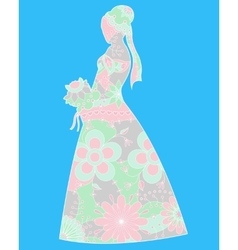 Bride silhouette colorful vector image