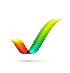Checkmark made of ribbon vector image