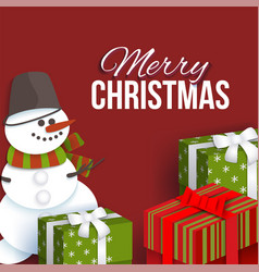 christmas greeting card with presents and snowman vector image vector image