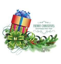 Christmas present with green bow and fir branch vector image vector image