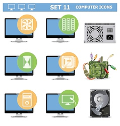 Computer icons set 11 vector