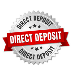Direct deposit round isolated silver badge vector