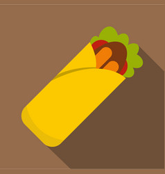 Doner kebab icon flat style vector