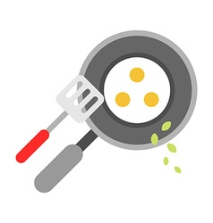 Eggs Fried in a Pan Isolated flat style vector image