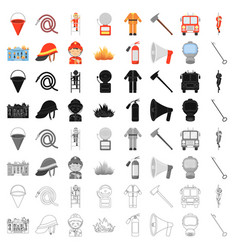 Fire department set icons in cartoon style big vector