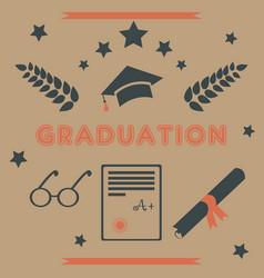 graduation package retro design black and orange vector image
