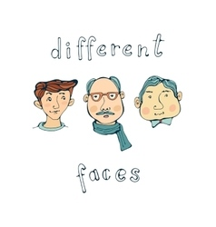 Hand drawn different male faces collection vector