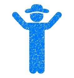 Hands Up Gentleman Grainy Texture Icon vector image vector image