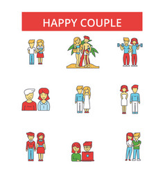 happy couple thin line icons linear vector image