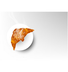 Isolated baked of croissant bread vector