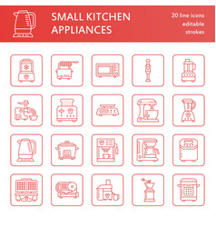 Kitchen small appliances line icons household vector