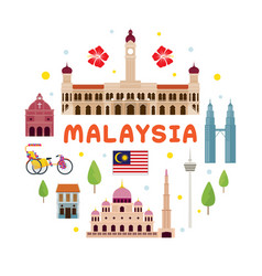Malaysia travel attraction label vector