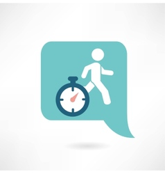 man running with a timer icon vector image vector image