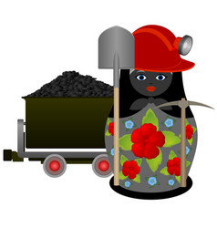 Miner with a pick and shovel vector