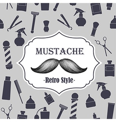 Mustache retro gray background vector