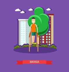 Parallel bars exercises flat vector