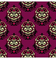 Purple Damask flower seamless vintage vector image vector image