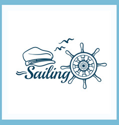 Sailing badge with handwheel vector