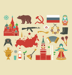 Set of icons on the theme of russia vector