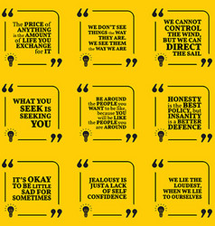 Set of motivational quotes about price vision vector