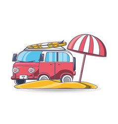 summer retro van beach vacation vector image