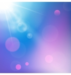 Sun rays on blue and purple colored background vector image