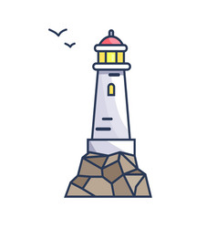 Tall beacon with light on rock and small birds vector
