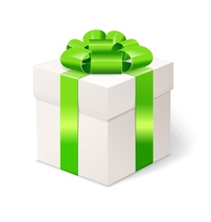 White gift box with bows and green ribbon vector image vector image