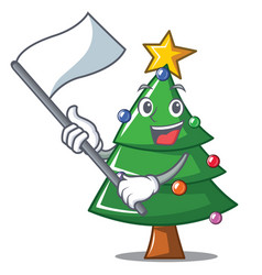 with flag christmas tree character cartoon vector image