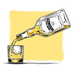 Whiskey and glass vector