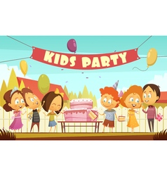 Kids Party Cartoon Background vector image
