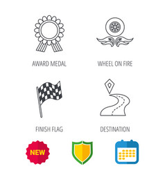 winner award medal destination and flag icons vector image