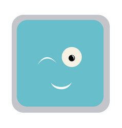 square colorful shape emoticon winking expression vector image