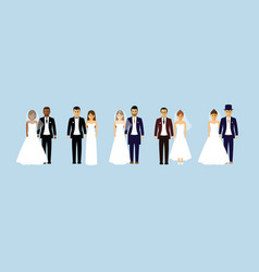 Group of wedding couples vector