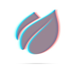 Eco leaf anagliph icon with shadow vector