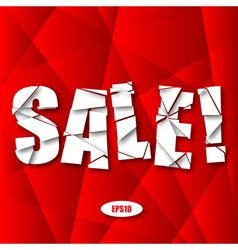 Sale cut paper poster on red background vector