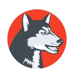 Siberian husky dog head circle retro vector