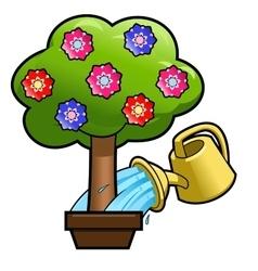 Watering the flower tree 2 vector image