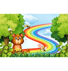 Animals in the park with rainbow background vector image