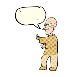 Cartoon mean looking man with speech bubble vector