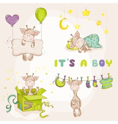 Baby boy giraffe set - baby shower or arrival card vector