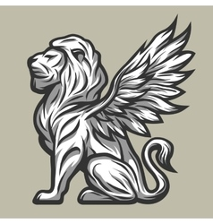 Lion statue with wings vector