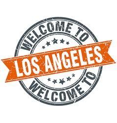 Welcome to los angeles orange round ribbon stamp vector
