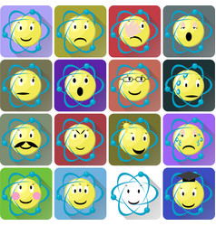 atom emoticons icons set vector image vector image