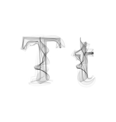 Black smoke font letter t vector
