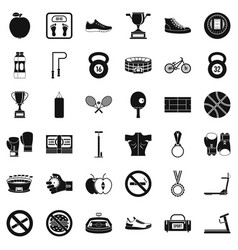Boxing icons set simple style vector
