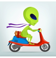 Cartoon Alien Scooter vector image vector image