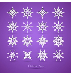 Christmas Paper Snowflakes on Violet Background vector image