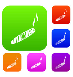 cigar set collection vector image vector image